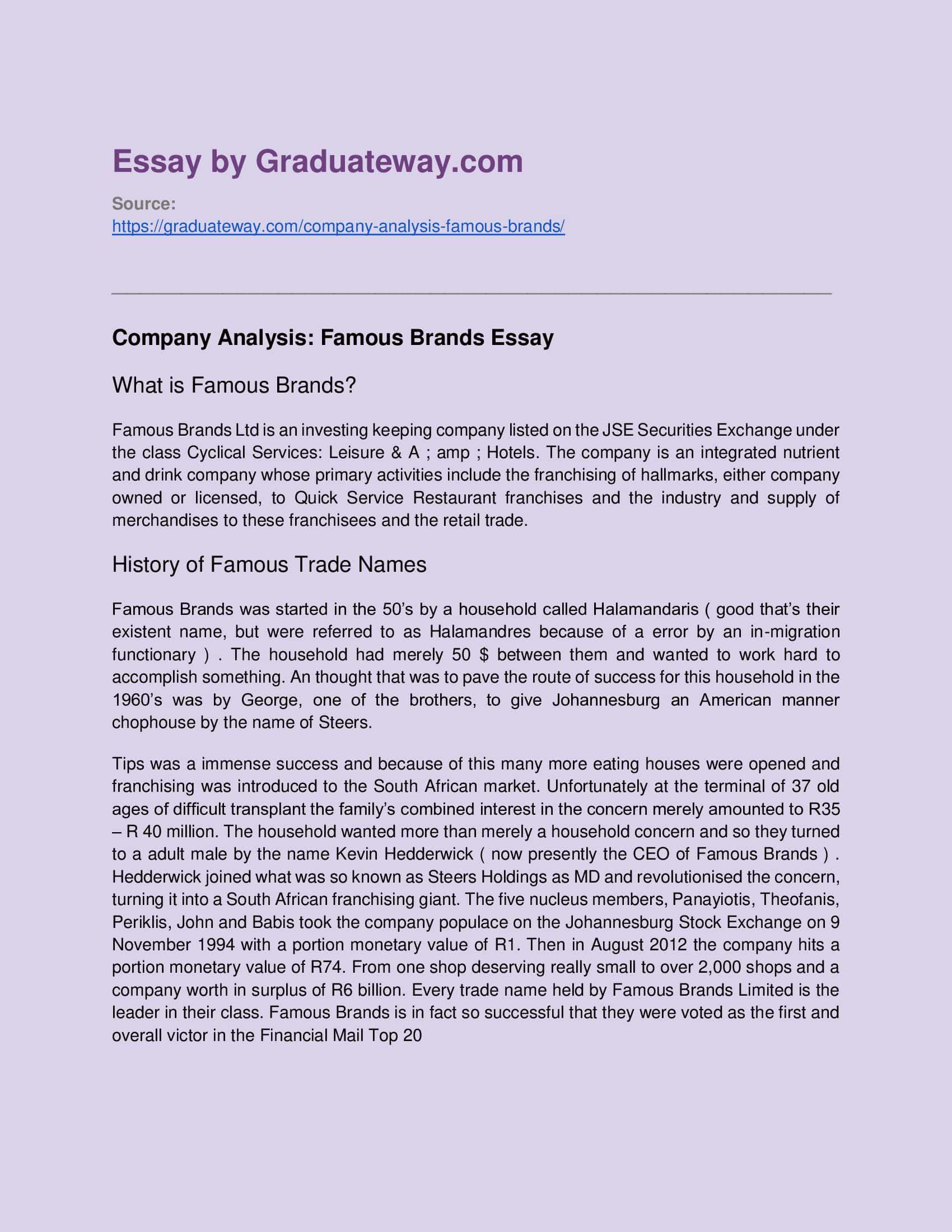 Brand Analysi Example Informative Essay Analysis Self Concept