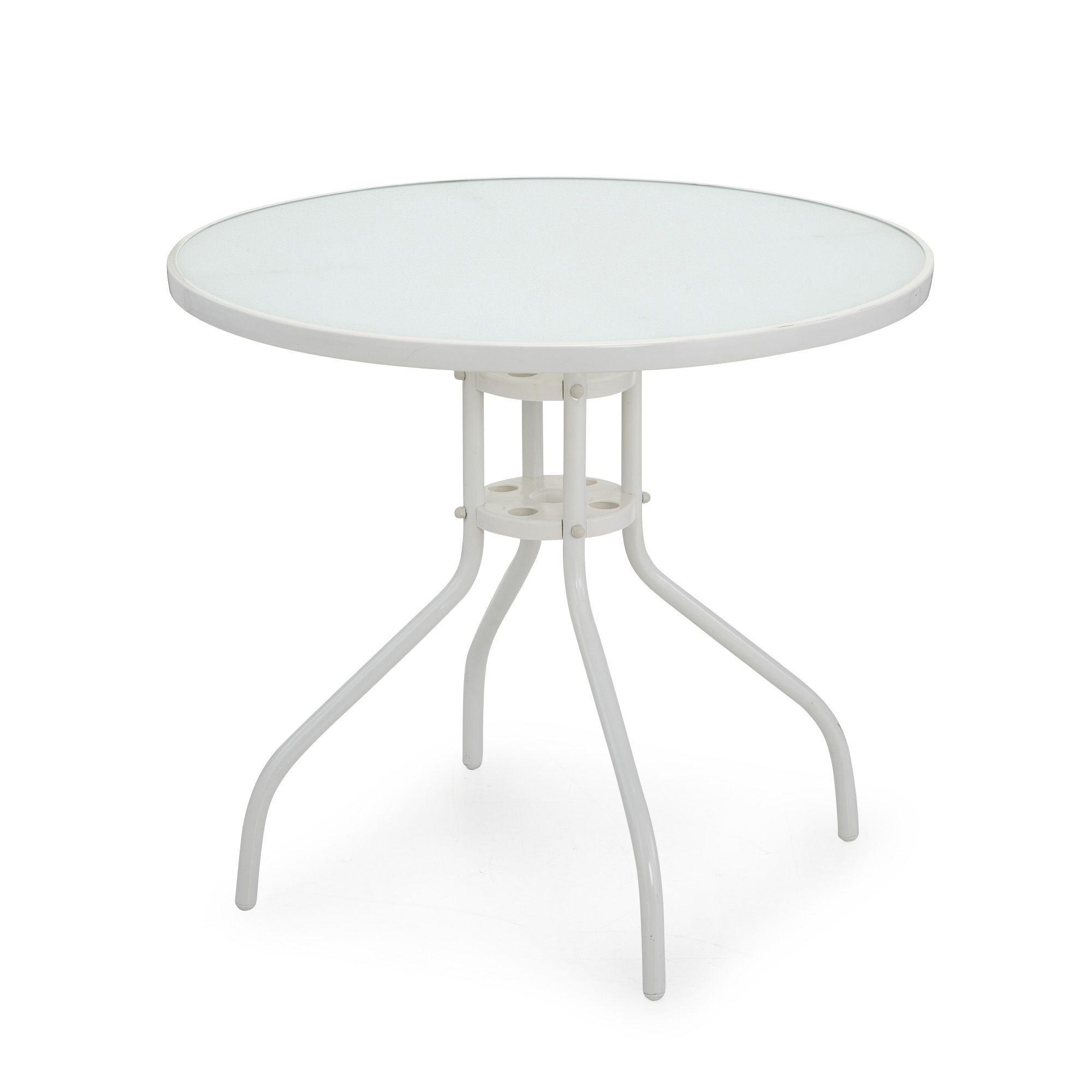 Table ronde en acier blanc et verre Blanc - Livia - Les ...