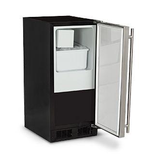 The Marvel 15 Crescent Ice Machine Provides Economical Ice Production And Installation Flexibility No Drain Requi Ice Machine Locker Storage Appliance Store