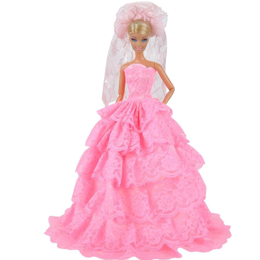 E-TING Bride 6 Layers Lace Handmade Dolls Clothes Wedding Dress ...