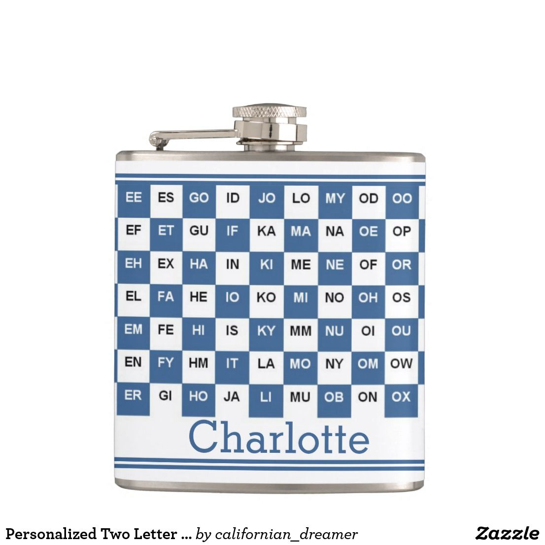 Personalized Two Letter Words British English Blue Flask