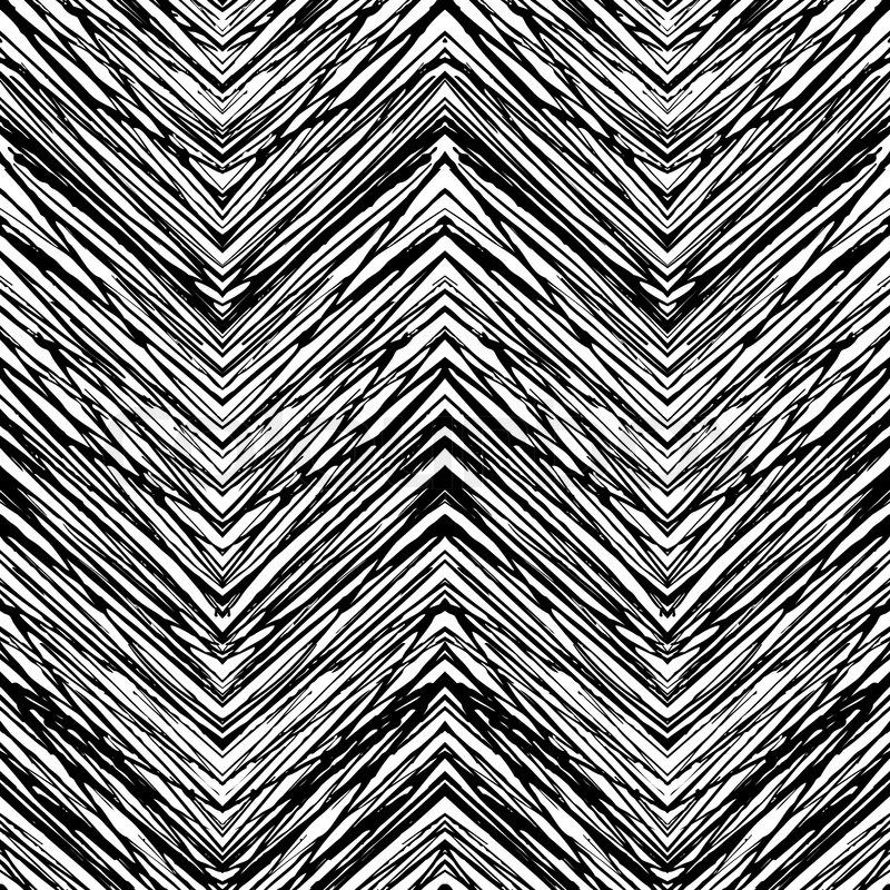 Black White Zig Zag Pattern Monochrome Textile Print Design
