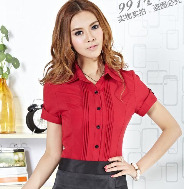 Camisa Mujer Roscado Algodón Manga Corta Negocios Elegante