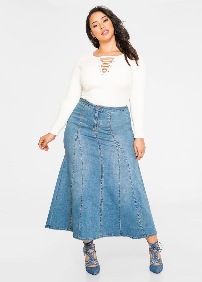 d5e5f01831 Godet Jean Maxi Skirt ekkor: 2019 | Duci divat. | Skirts, Denim ...