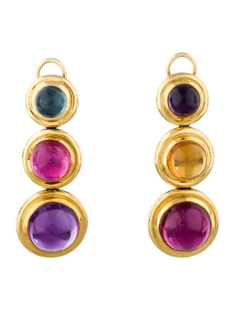 e2cf7df56 18k gold Tiffany & Co. Paloma Picasso Cabochon Drop Earrings with amethyst  stones, aqua marine, citrine and pink tourmaline rounded stones with  clip-on back ...