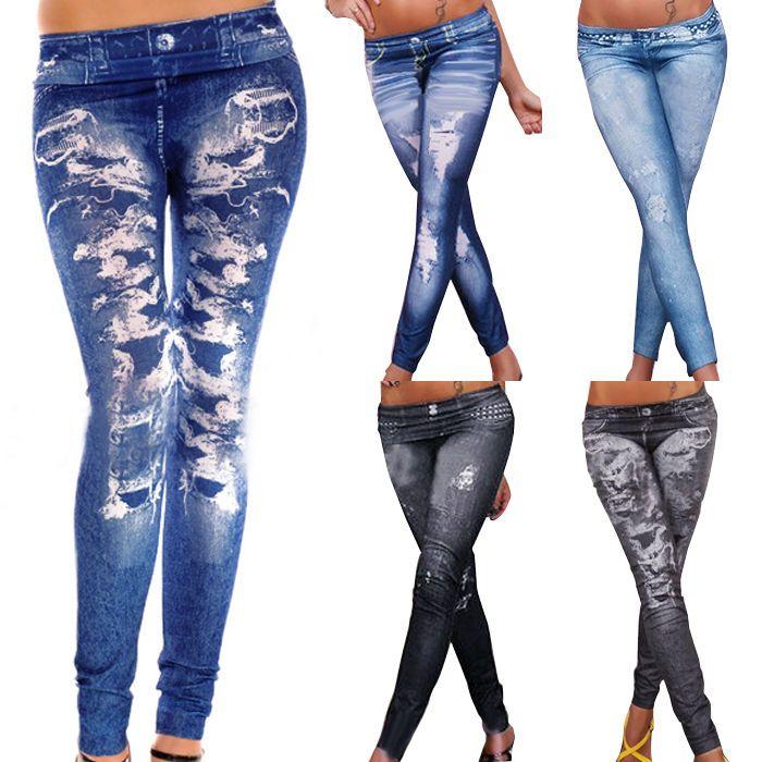 Sexy Women Skinny Look Denim Stretch Jeggings Trousers Jeans Slim Pants Leggings