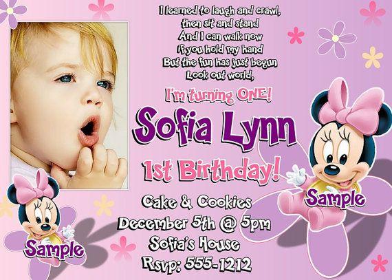 Minnie Mouse 1st Birthday Invitations Printable Digital File
