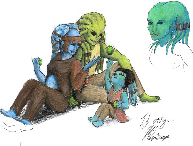 Kit Fisto And Aayla Secura With Their Hybrid Daughter Older