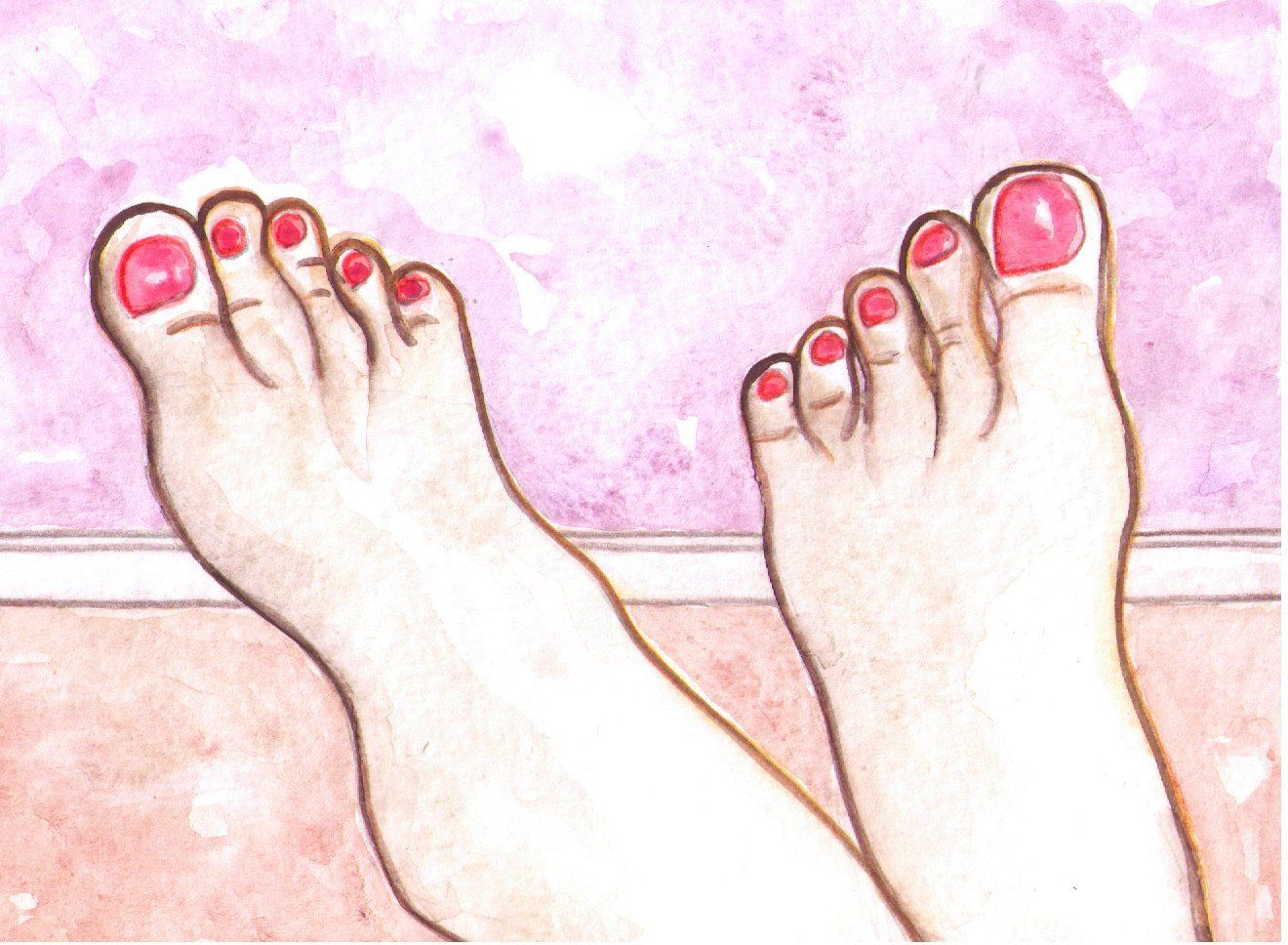 Feet Art Painting Foot Painted Pink Red Toenails Original