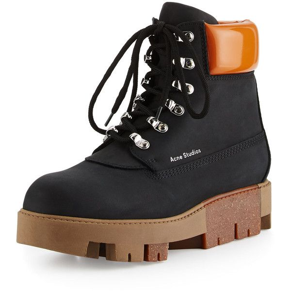 Acne Studios Telde Calf Leather Hiker Boot ($325) ❤ liked on Polyvore  featuring shoes, boots, shoes booties, platform lace up shoes, lace-up  boots, ...