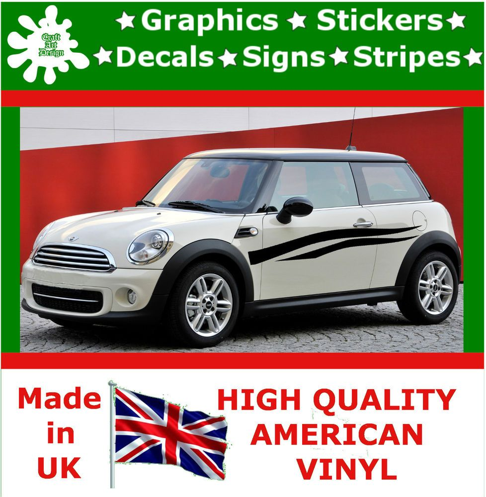 """10"""" High Car Side Stripes Graphics Decal Vinyl Stickers Van Auto Rally Race F2_9"""