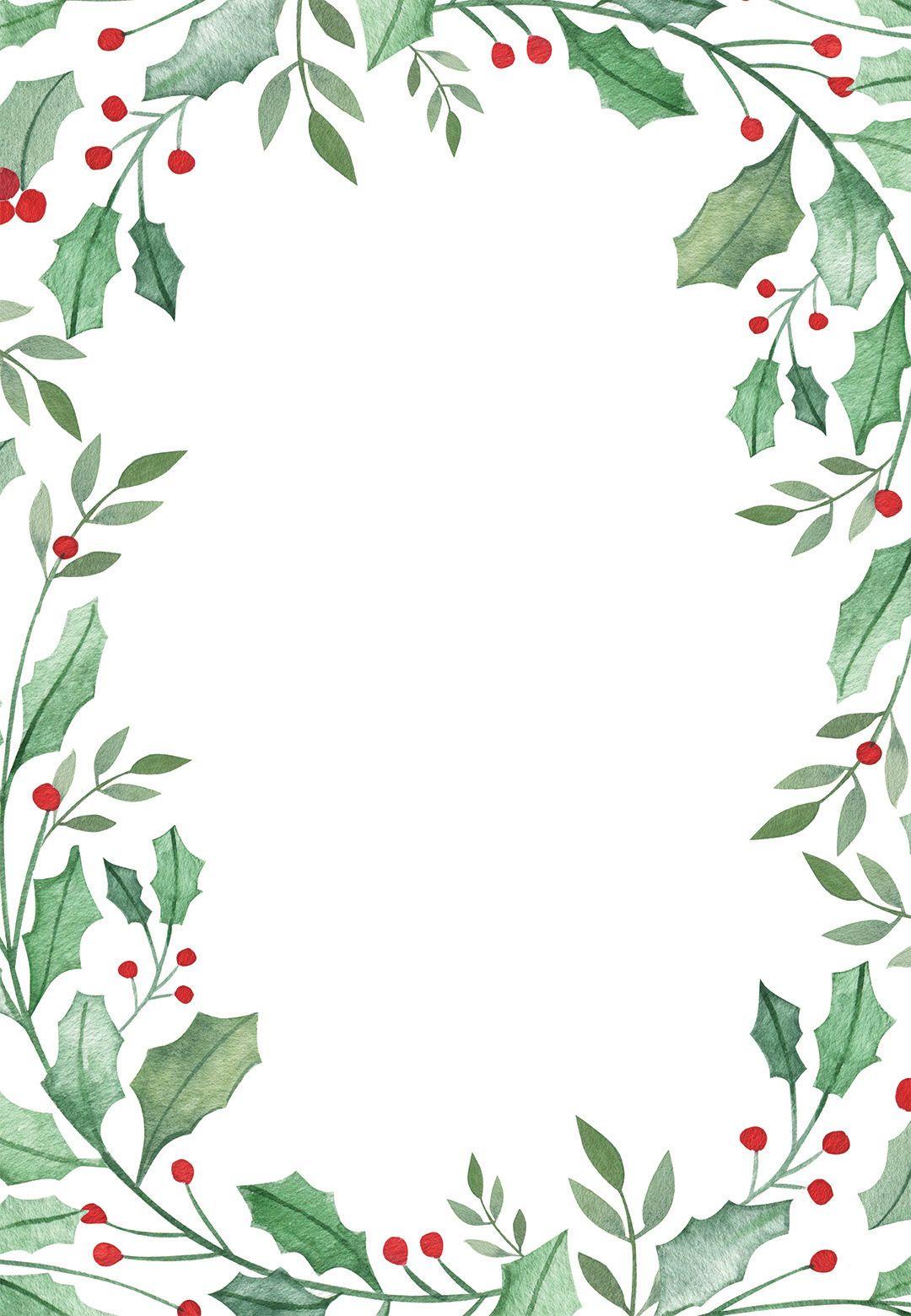 Leaf & Holly Border Free Christmas Invitation Template