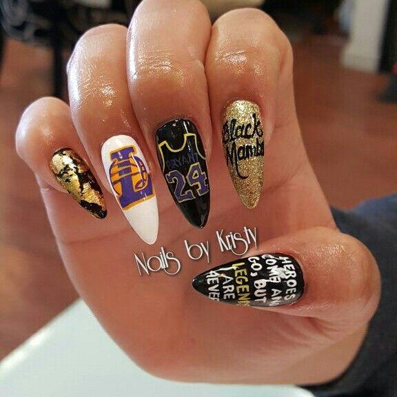 Lakers Kobe Acrylic Long Stiletto Nails Nail Art Black Mamba Nails Long Acrylic Nails Queen Nails