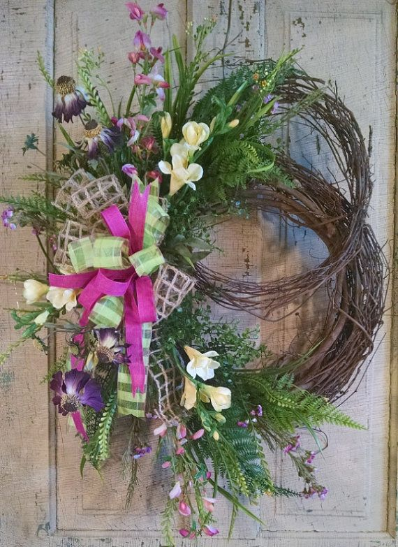 Silk Flower Wreath Grapevine Front Door Summer For Porch Decor Wreaths And Hangers