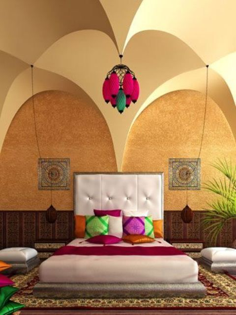 Bedroom Bizarre: Color Rules In This Master Bedroom. Inspired By Moroccan  Décor, The Roomu0027s Hanging Lanterns, Numerous Floor Pillows And Chic Wall  Tiles ...
