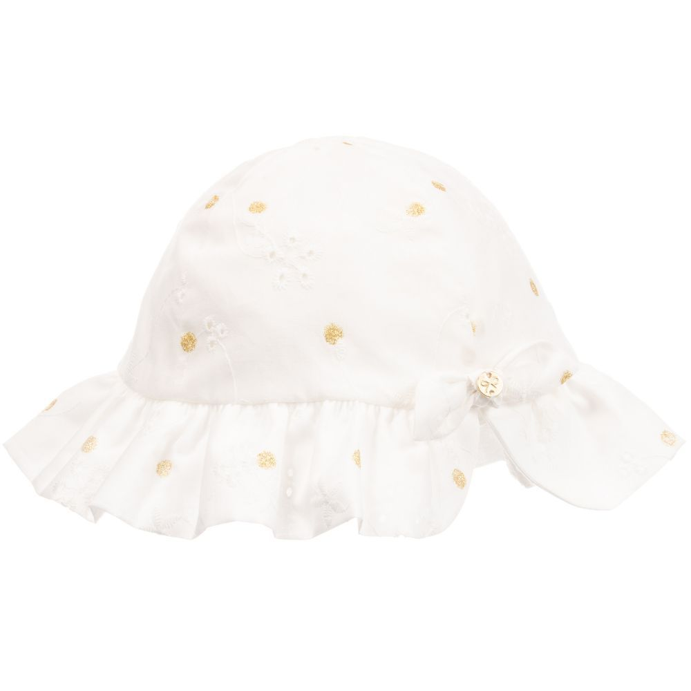 Baby broderie anglaise elasticated sun hats available in ivory and pink