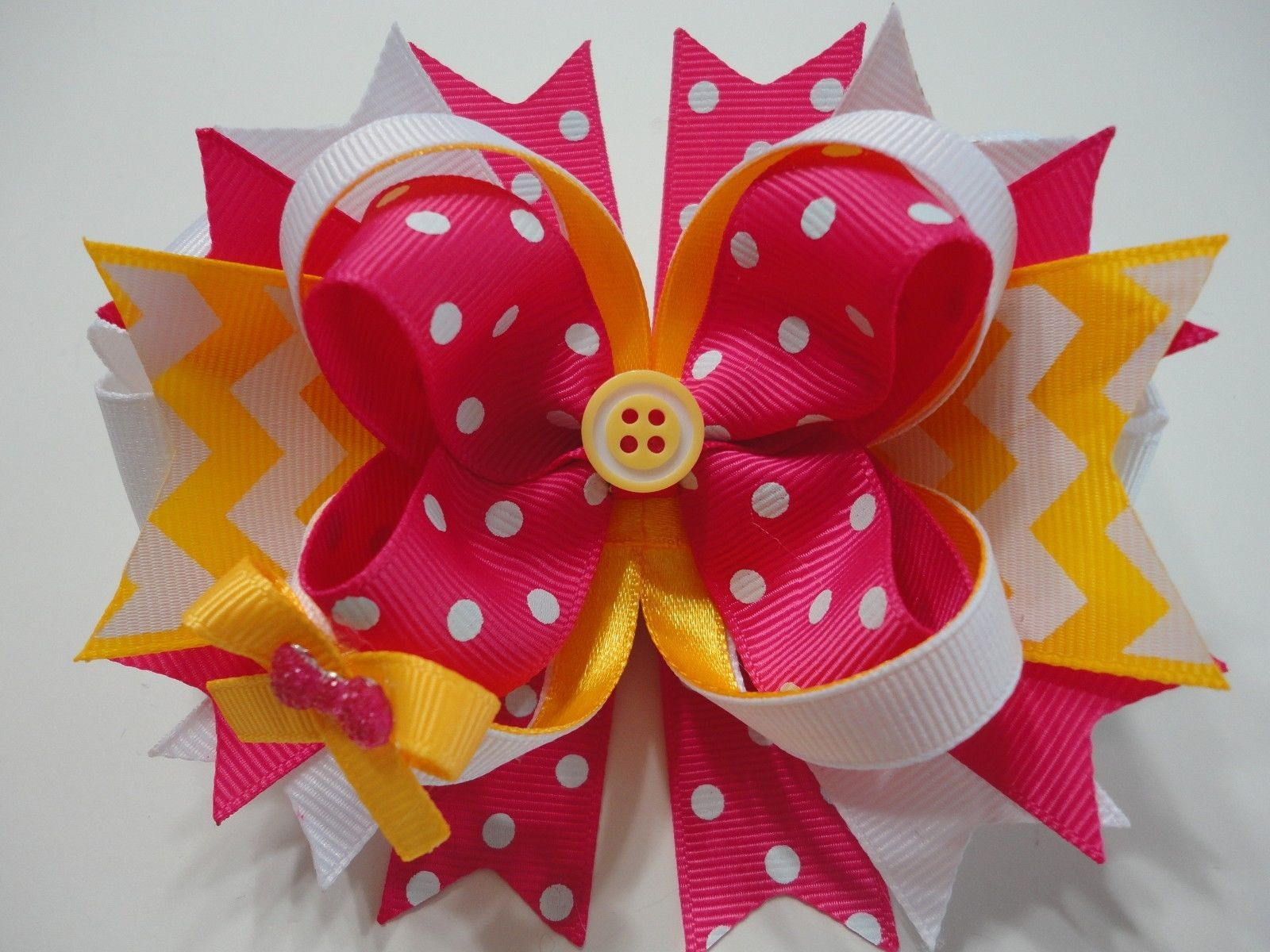 Pink lemonade hairbow pretty pink sparkles pinterest sewing