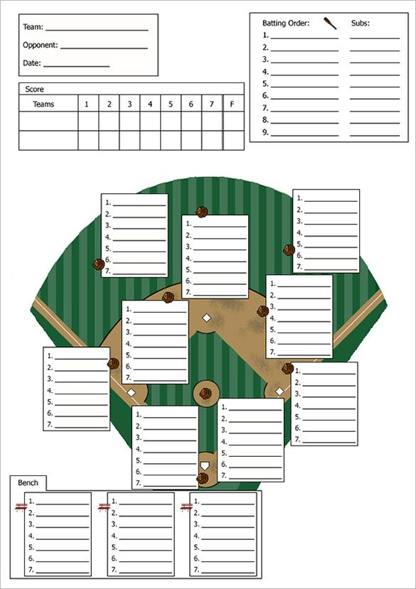 Baseball Line Up Card Template   Free Printable Word Pdf Psd