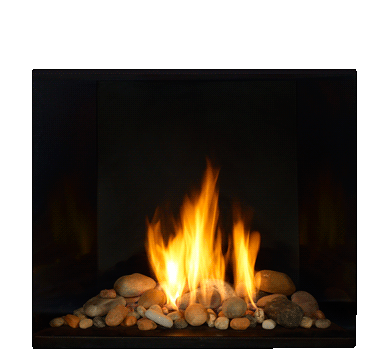 Gas Fireplace With River Rocks Fireplace Design Glass Fireplace Fireplace