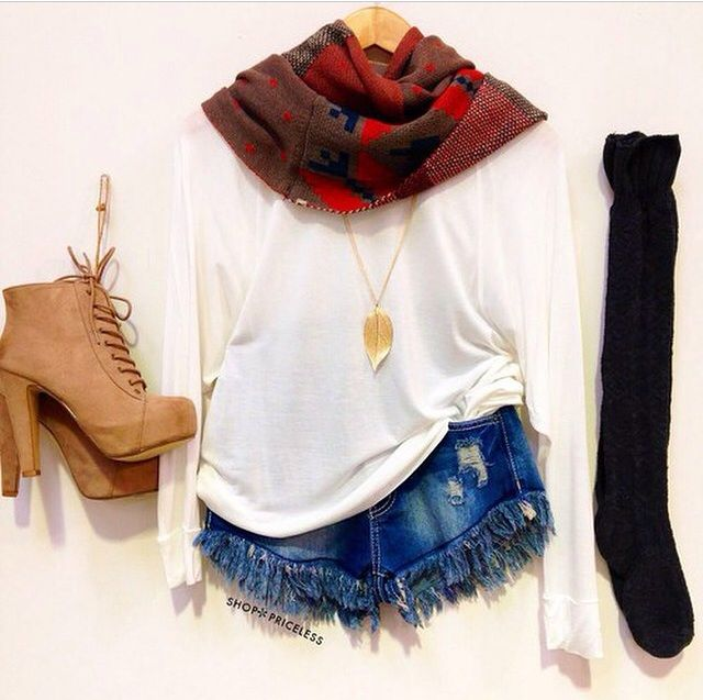 57960f1a495 blue denim high waisted shorts, a light white long sleeve shirt, infinity  scarf, black knee high socks, and lace up ankle boot heels.