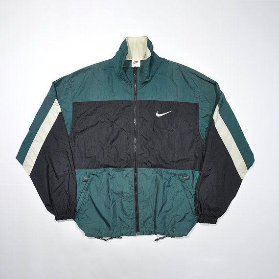 f300fda14 Vintage 90s NIKE Windbreaker Jacket / Retro NIKE Streetwear Old school  Tracker / Color Block Nike Size Medium Training Running Shell Jacket