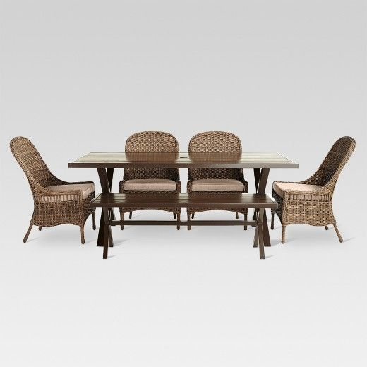 Threshold Mayhew 6pc All Weather Wicker Dining Set | Dining Sets, Weather  And Dining Bench
