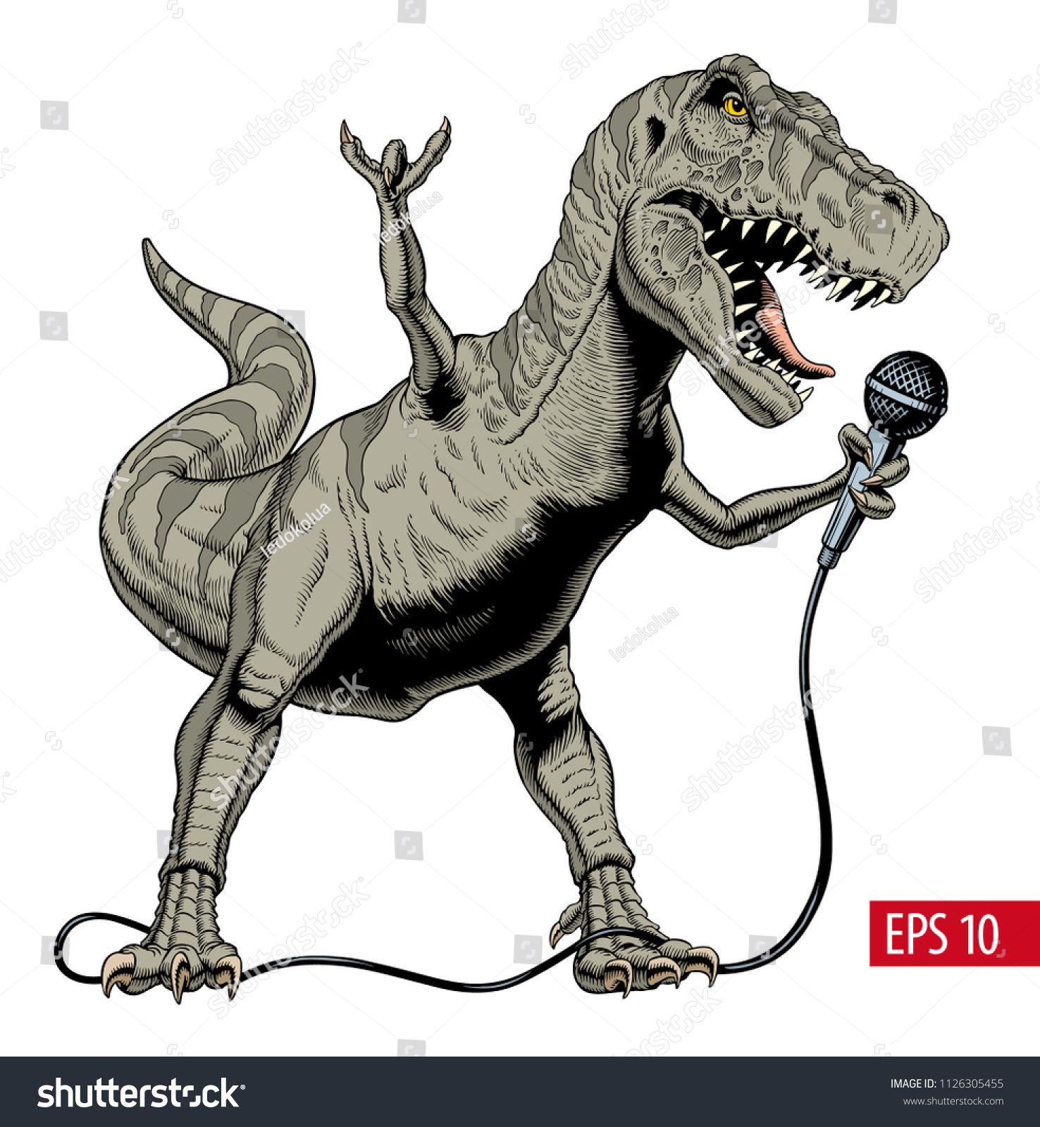 Dinosaur rock singer holding microphone. Tyrannosaurus or T. rex. Vector  illustration.singer#holding#Dinosaur#rock | Dinosaur, Tyrannosaurus,  Ilustration art