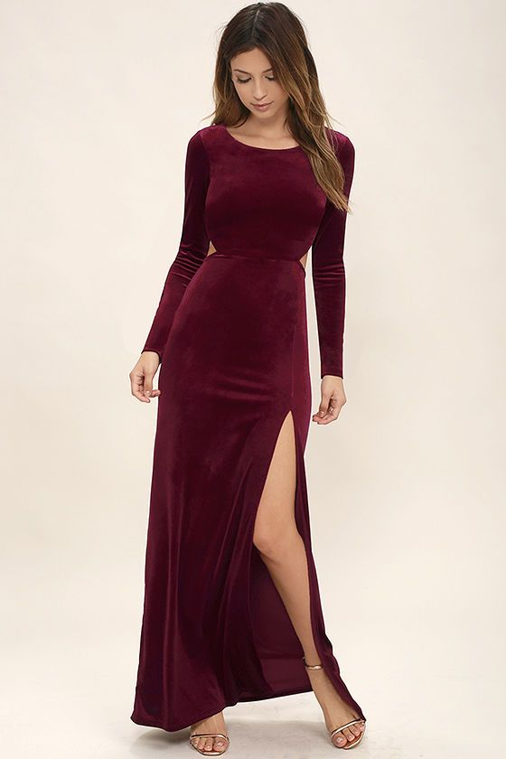 Besame Burgundy Velvet Long Sleeve Maxi Dress | Long sleeve maxi ...