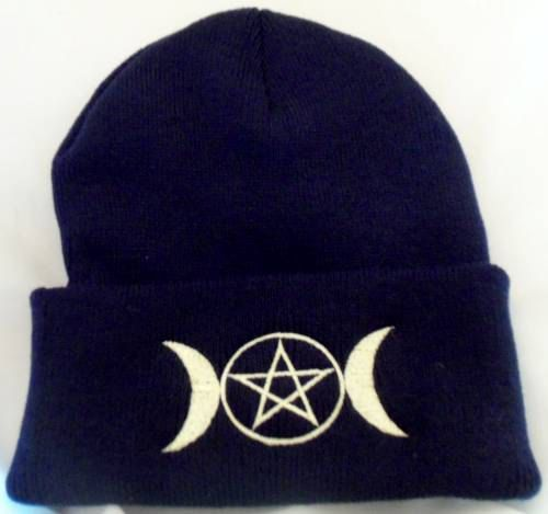 Winter Beanie Hat Embroidered Triple Moon With Pentacle Wiccan Pagan Wiccan Pagan Black Beanie   wiccan clothing