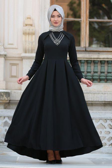 Neva Style Kolye Detayli Siyah Tesettur Abiye Elbise 41470s Tesetturisland Com Giyim Elbise Dantel Elbise