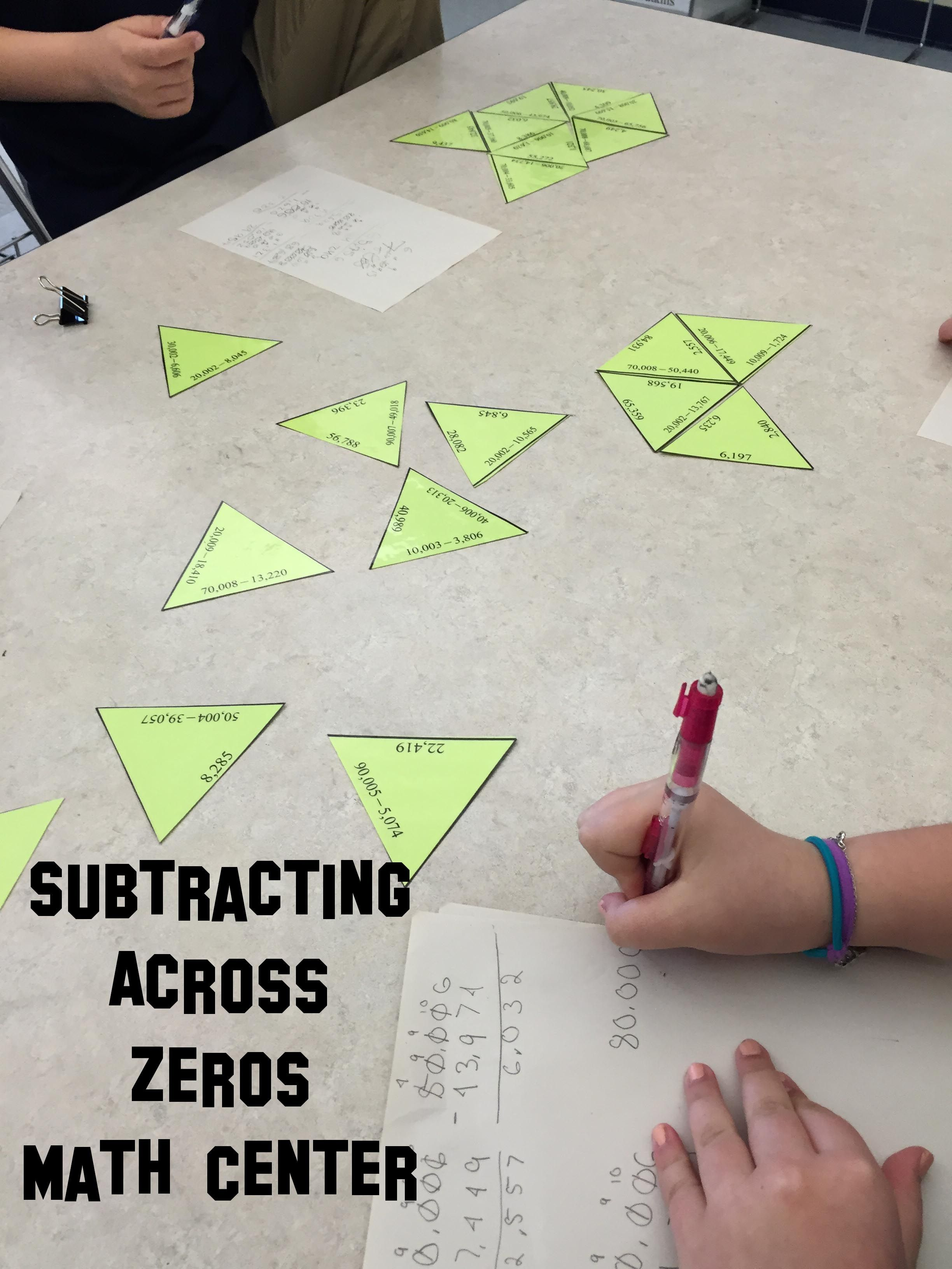 Subtracting Across Zero Math Station Activity