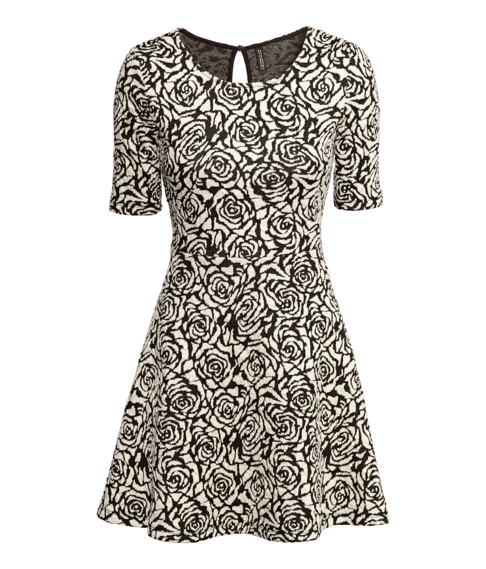 0ba13186510a2 Short flared dress with textured rose pattern in black & white. | H&M  Divided