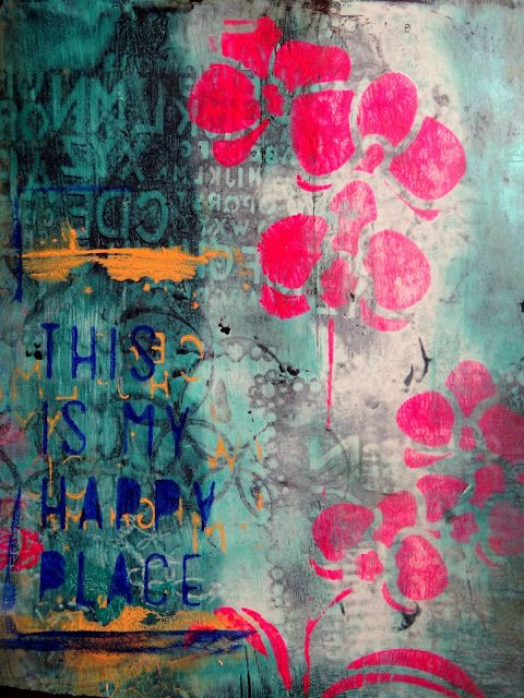 gelli art print on black background  more prints on the