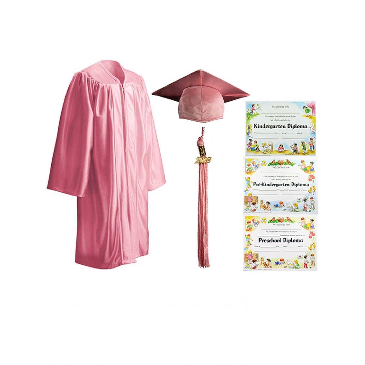 Child Shiny Pink Cap, Gown, Tassel & Diploma - Cap, Gown, Tassel ...