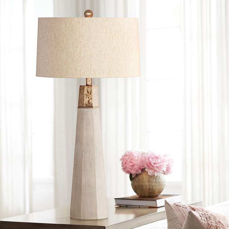 Rowan Natural Cement Table Lamp 58k95 Lamps Plus Lamp Table Lamp Natural Lamps