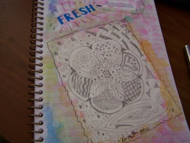 Traveling Journal, my first zentangle.  Look, Ma-I made this!