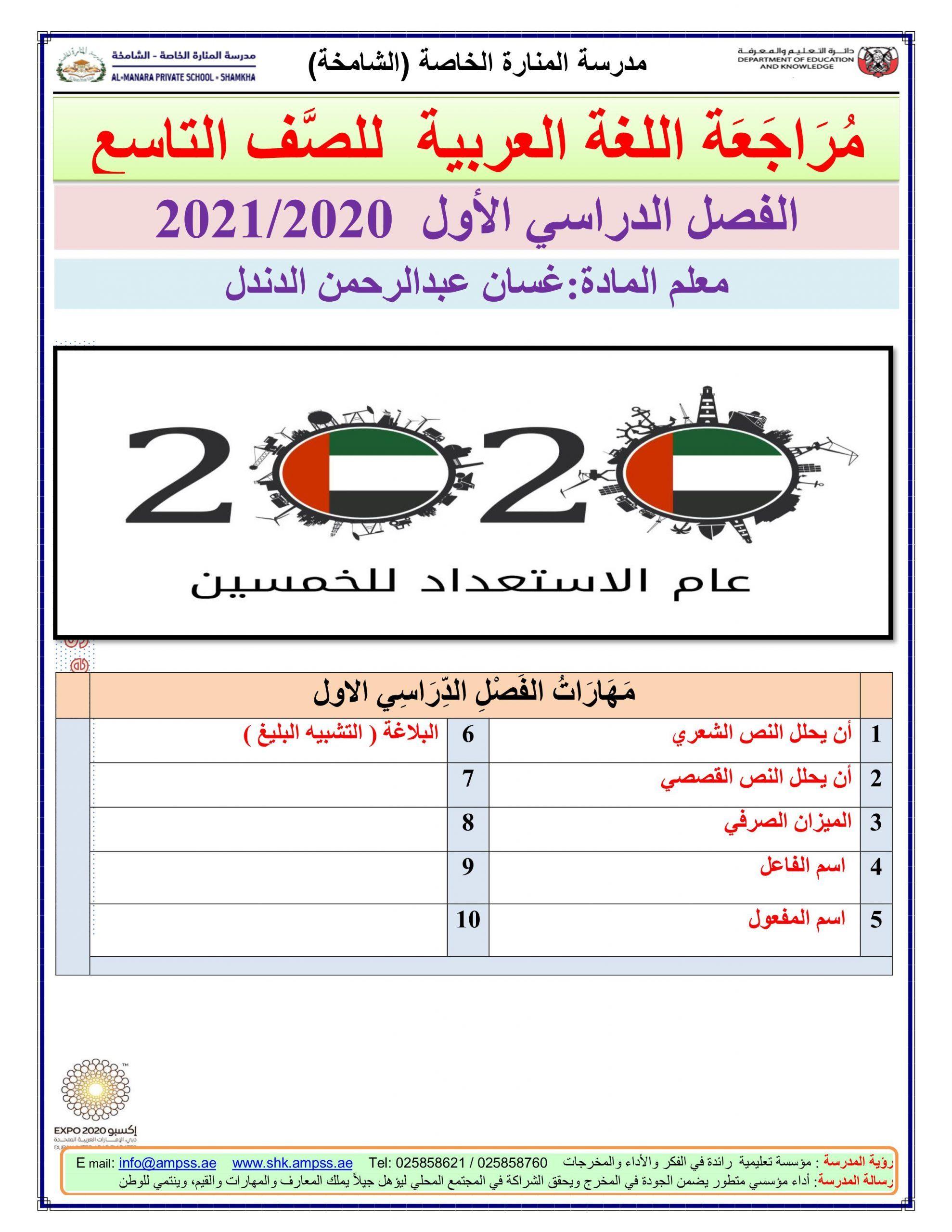 اوارق عمل متنوعة مراجعة نهائية الصف التاسع مادة اللغة العربية Bullet Journal Journal