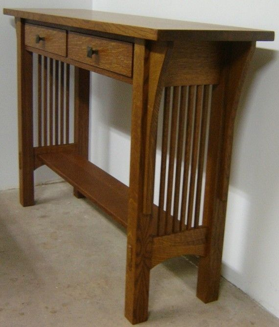 New Solid Quarter Sawn White Oak Mission Style Sofa Table Hall On Custommade