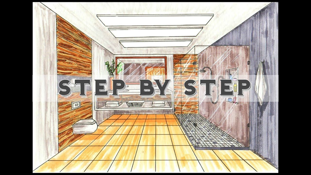 How To Draw A Bathroom In One Point Perspective Step By Step Drawing A Living Room In One Point Perspecti One Point Perspective Point Perspective Perspective