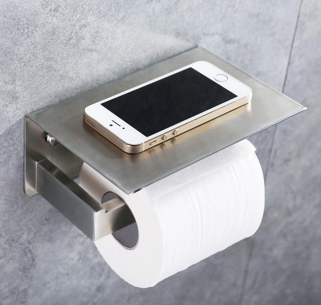 Amazon Com Toilet Paper Holder Sus304 Stainless Steel Bathroom Tissue Holder With Mobile Toilet Paper Holder Bathroom Tissue Holder Stainless Steel Bathroom