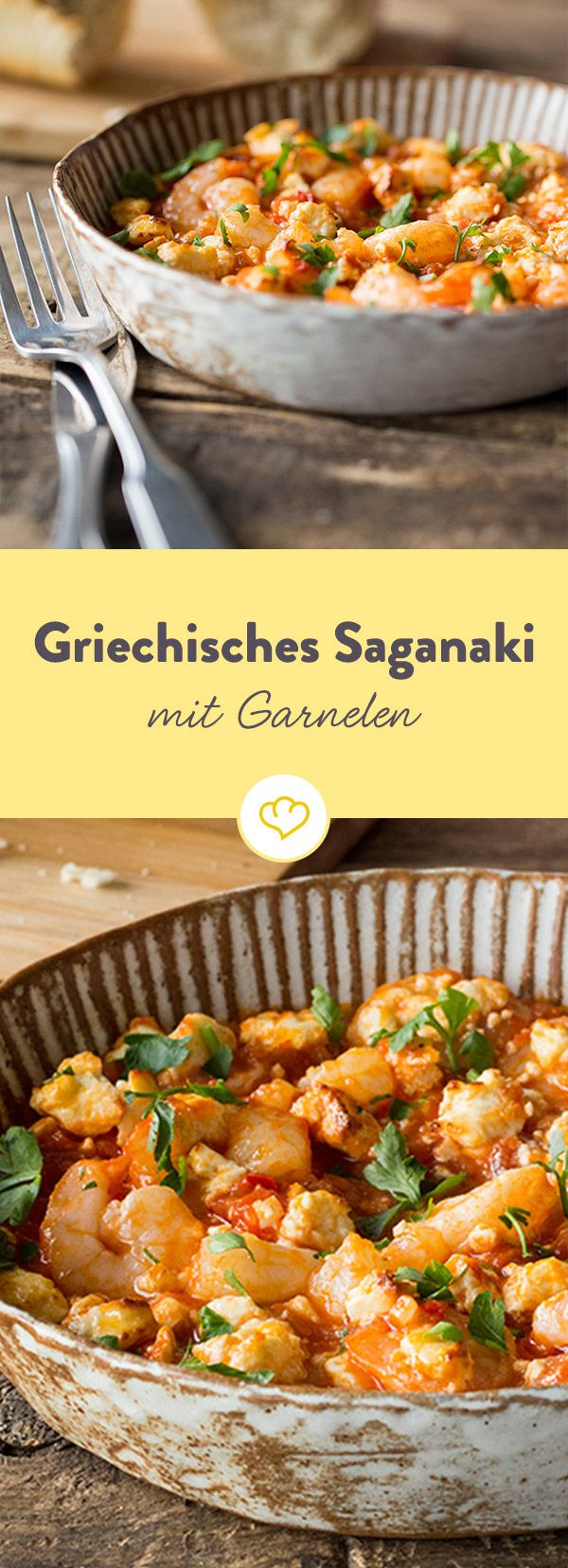 griechisches saganaki mit garnelen rezept in 80 t pfen um die welt pinterest. Black Bedroom Furniture Sets. Home Design Ideas