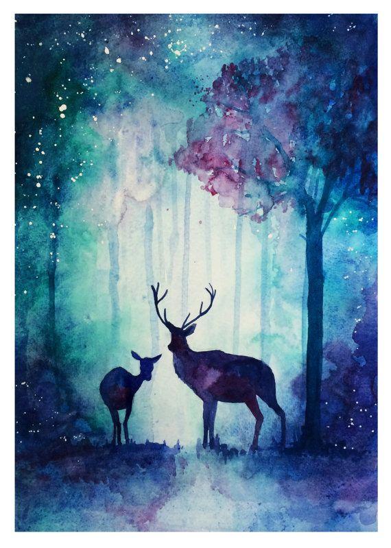 Enchanted Woods Print Renkli Calismalar Resimler 2019 Tuval