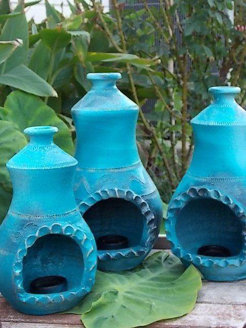 Nice Teal Shabby Chiminea Candle Holder Set Of By BlueEuphoriaDesigns
