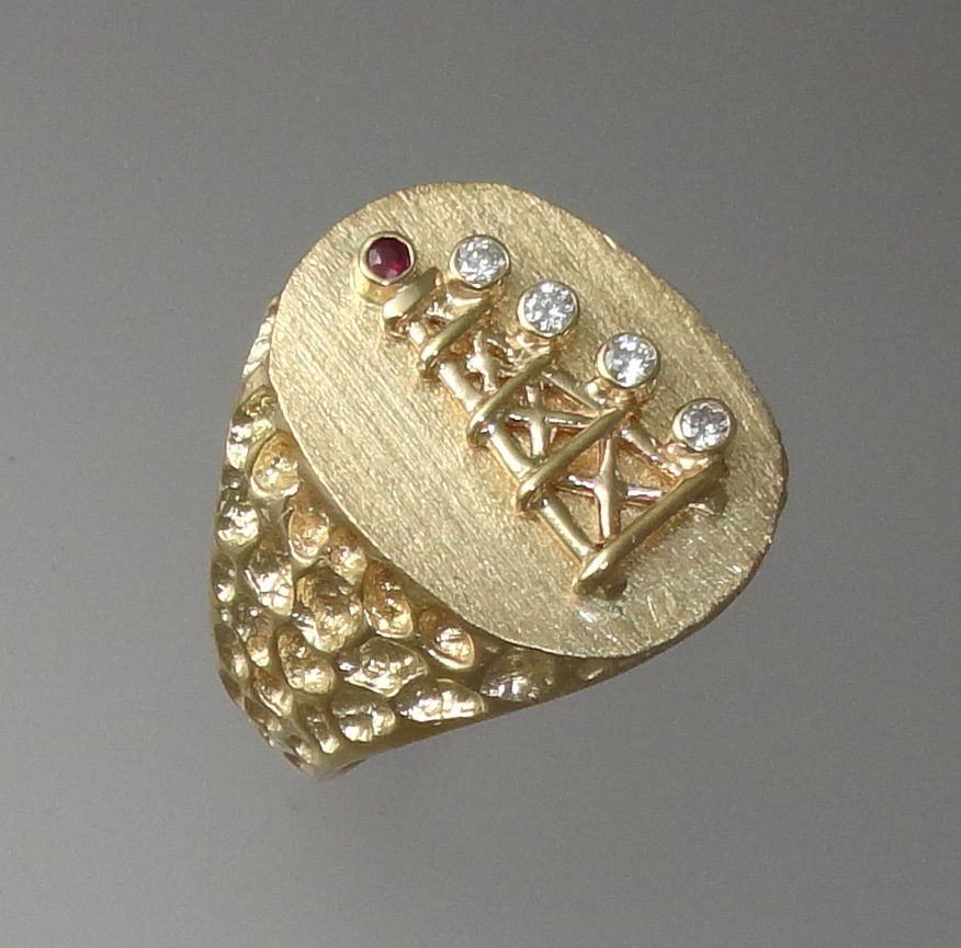 This Is Our Oil Derrick Ring With Ruby And Diamond Lights