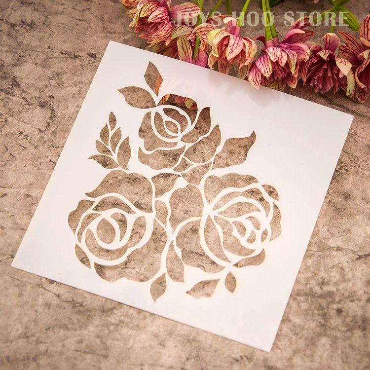 rose flowers art crafts stencil laser sprays templates plastic stamps. Black Bedroom Furniture Sets. Home Design Ideas