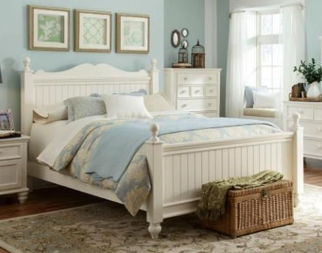 Legacy Furniture Summer Breeze Off White Queen Low Poster Bed Cottage Style Bedrooms Country Bedroom Furniture Country Style Bedroom