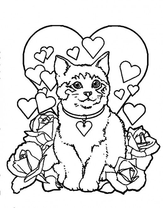 A Beautiful Cat With Heart Necklace Coloring Pages