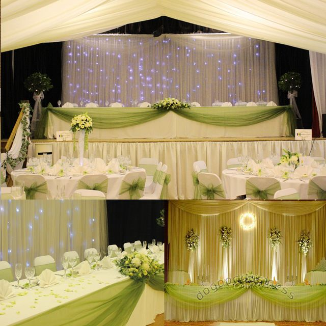 Grass green 5M*1.35M Sheer Mirror Organza Swag Fabric for wedding ...