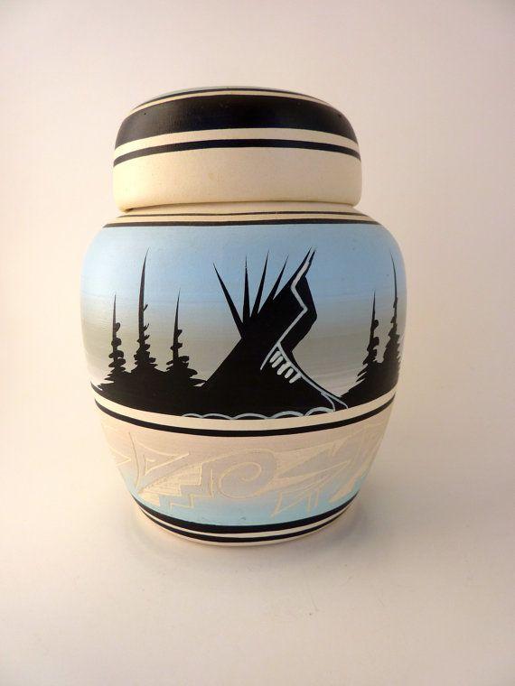 Navajo Pottery Ginger Jar Signed Black Horse Native