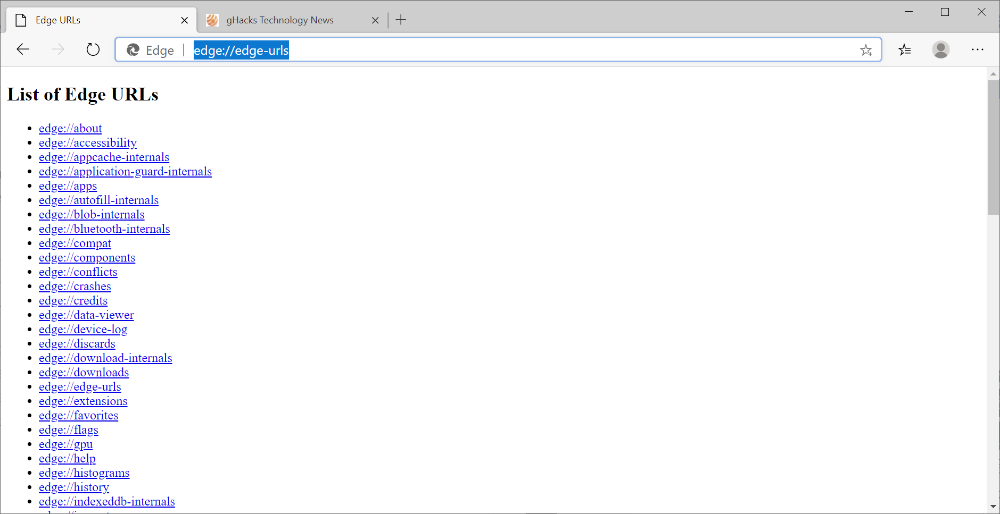 The Full List Of All Internal Urls Of The Chromium Based Microsoft Edge Web Browser Including Explanation Of Each Page In 2020 About Me Blog Microsoft Apps List